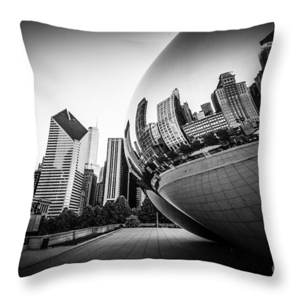 Chicago Bean Cloud Gate in Black and White Throw Pillow by Paul Velgos