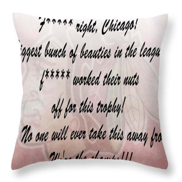 Chicago Blackhawks Crawford's Speech Throw Pillow by Dan Sproul