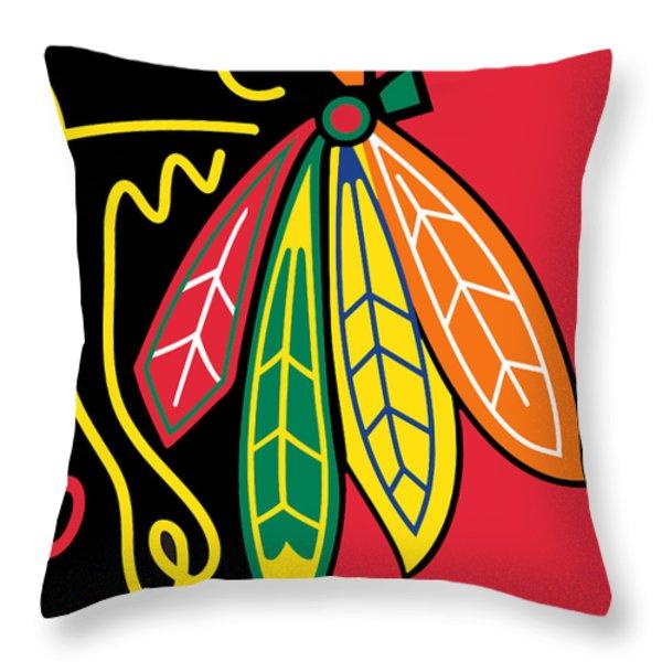 Chicago Blackhawks Throw Pillow by Tony Rubino