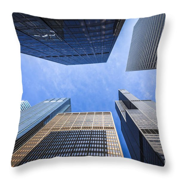 Chicago Buildings Upward View with Willis-Sears Tower Throw Pillow by Paul Velgos