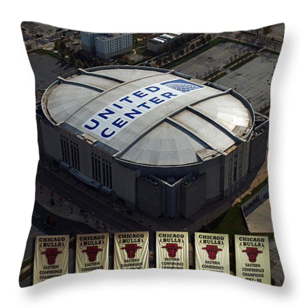 Chicago Bulls Banners Throw Pillow by Thomas Woolworth