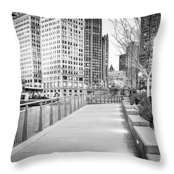 Chicago Downtown City Riverwalk Throw Pillow by Paul Velgos