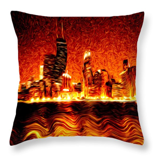Chicago Hell Digital Painting Throw Pillow by Paul Velgos