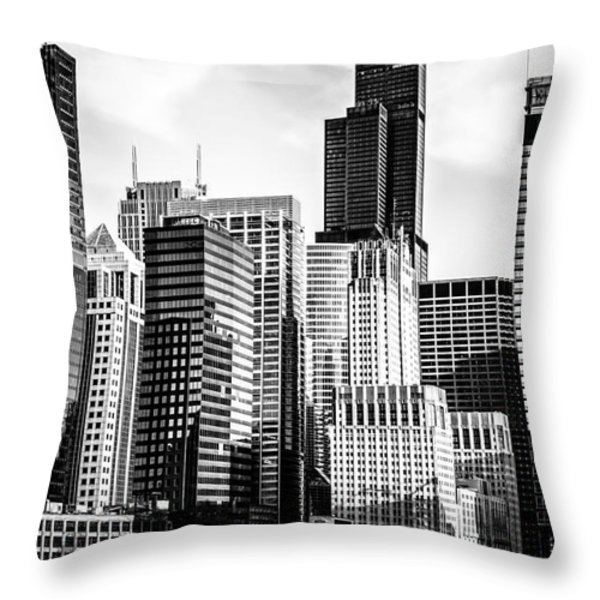 Chicago High Resolution Picture in Black and White Throw Pillow by Paul Velgos