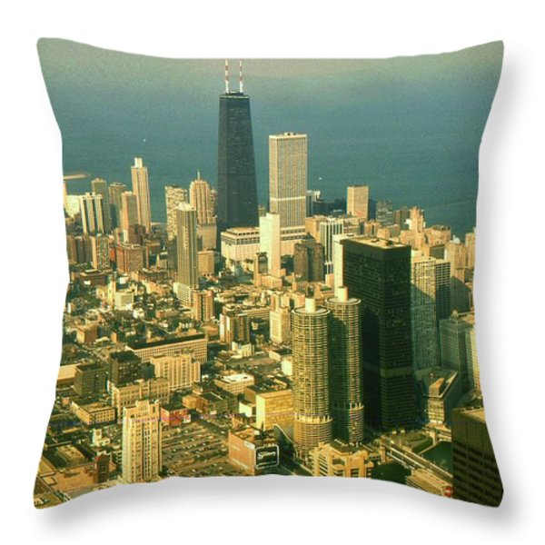 Chicago Illinois Downtown Skyline - Architecture Throw Pillow by Peter Fine Art Gallery  - Paintings Photos Digital Art