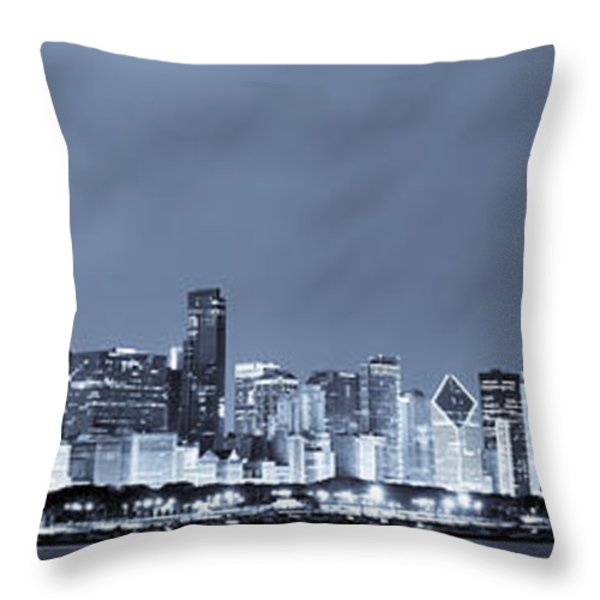 Chicago In Blue Throw Pillow by Sebastian Musial