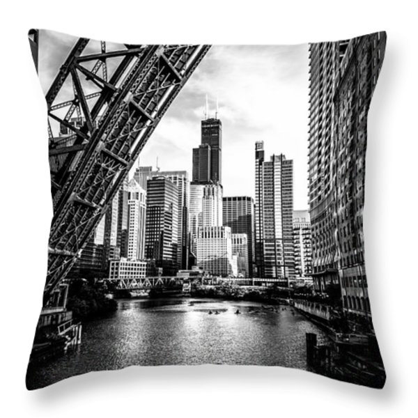 Chicago Kinzie Street Bridge Black and White Picture Throw Pillow by Paul Velgos