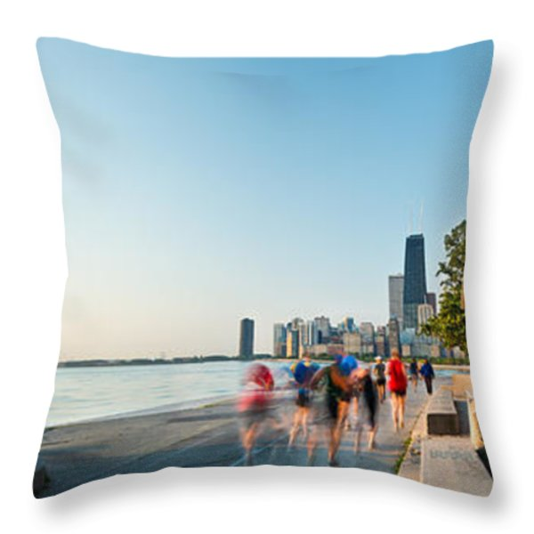 Chicago Lakefront Panorama Throw Pillow by Steve Gadomski