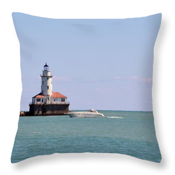 Chicago Light House with Boat in Lake Michigan Throw Pillow by Christine Till