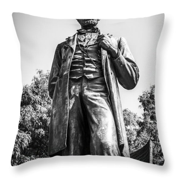 Chicago Lincoln Standing Statue in Black and White Throw Pillow by Paul Velgos