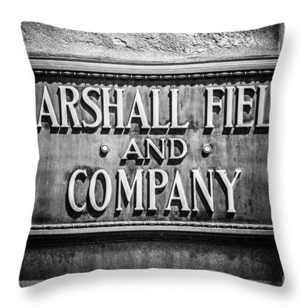 Chicago Marshall Field Sign in Black and White Throw Pillow by Paul Velgos