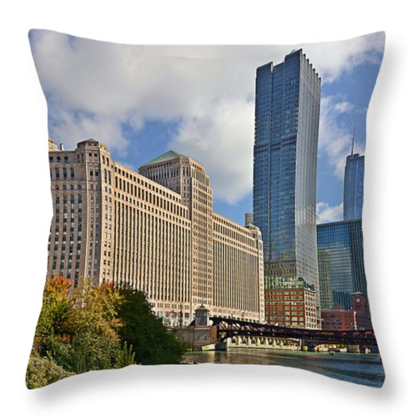 Chicago Merchandise Mart Throw Pillow by Christine Till