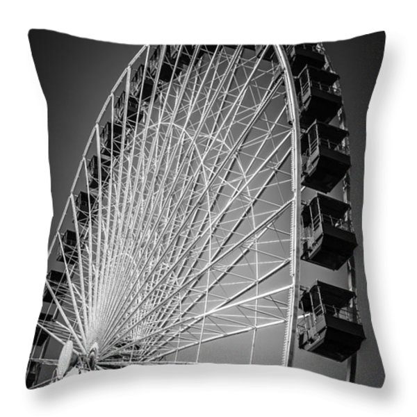 Chicago Navy Pier Ferris Wheel In Black And White Throw Pillow by Paul Velgos