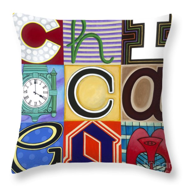 Chicago Picasso Squares Throw Pillow by Carla Bank