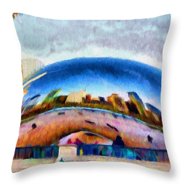 Chicago Reflected Throw Pillow by Jeff Kolker