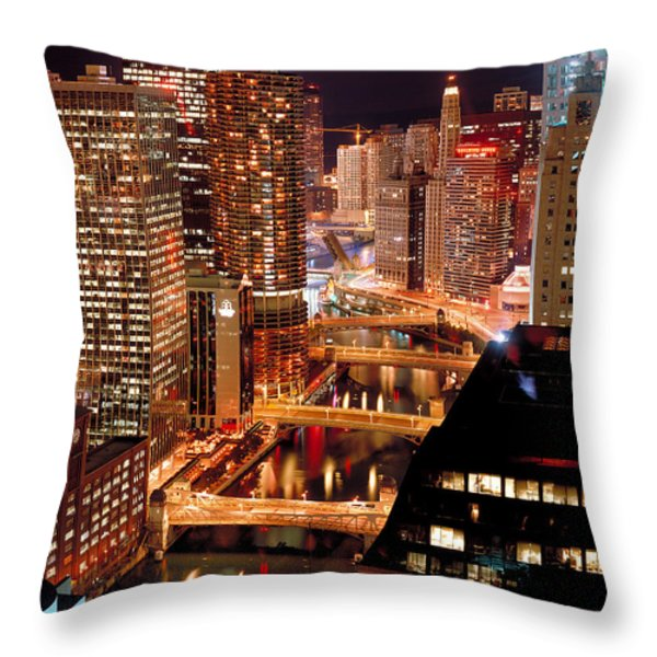 Chicago River At Night Throw Pillow by Thomas Firak