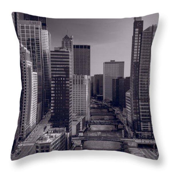 Chicago River Bridges South BW Throw Pillow by Steve Gadomski
