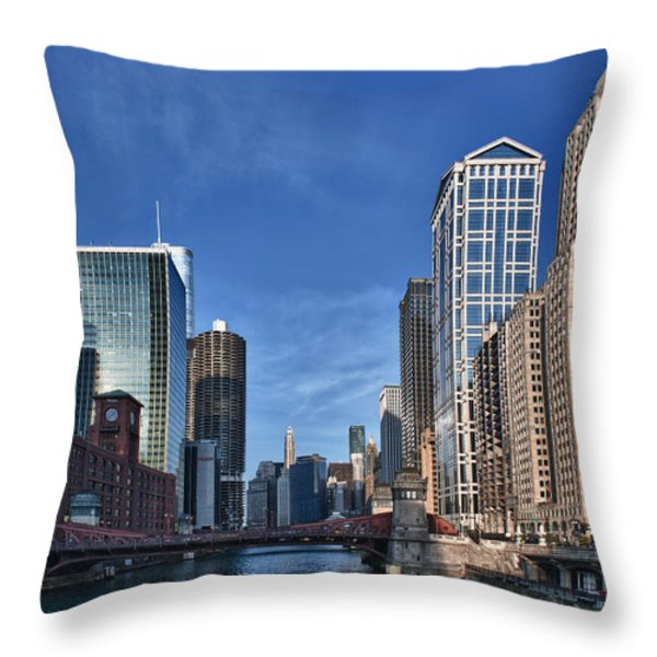 Chicago River Throw Pillow by Sebastian Musial