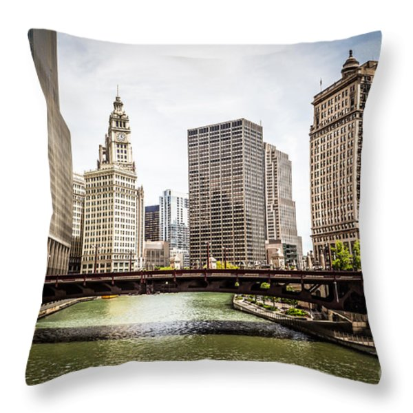 Chicago River Skyline at Wabash Avenue Bridge Throw Pillow by Paul Velgos