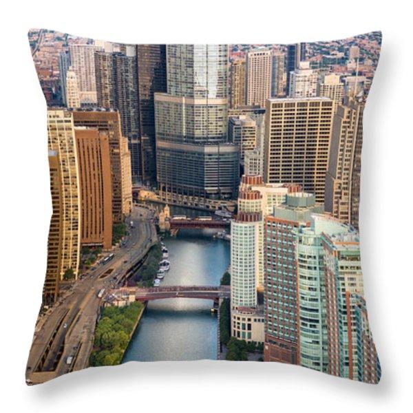 Chicago River Sunrise Throw Pillow by Steve Gadomski