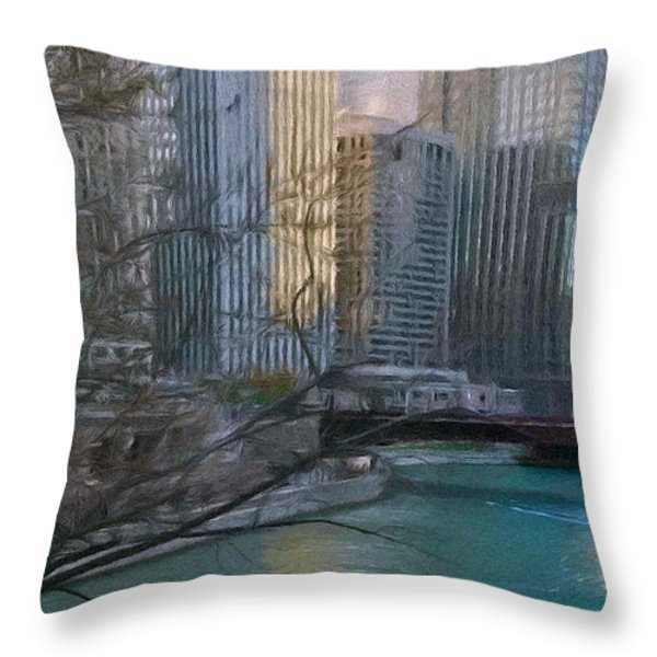 Chicago River Sunset Throw Pillow by Jeff Kolker