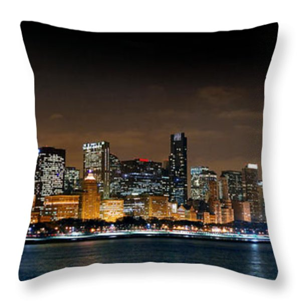 Chicago Skyline At Night Panorama Color 1 To 3 Ratio Throw Pillow by Jon Holiday
