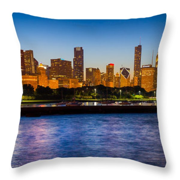 Chicago Skyline Throw Pillow by Inge Johnsson