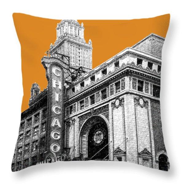 Chicago Theater - Dark Orange Throw Pillow by DB Artist