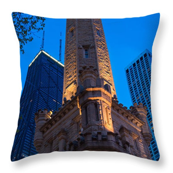 Chicago Water Tower Panorama Throw Pillow by Steve Gadomski