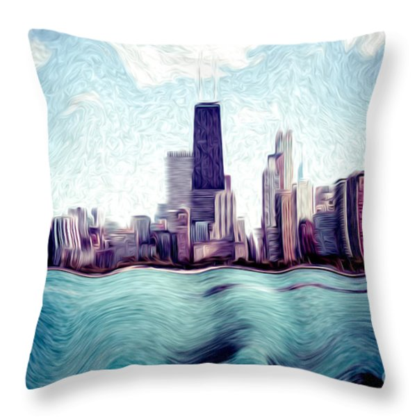 Chicago Windy City Digital Art Painting Throw Pillow by Paul Velgos