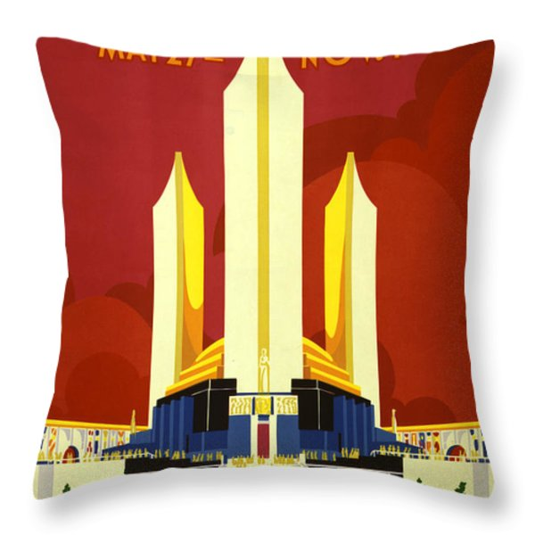 Chicago World's Fair Throw Pillow by Nomad Art And  Design