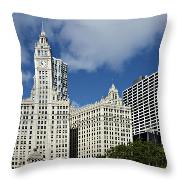 Chicago - Wrigley Building Throw Pillow by Christine Till