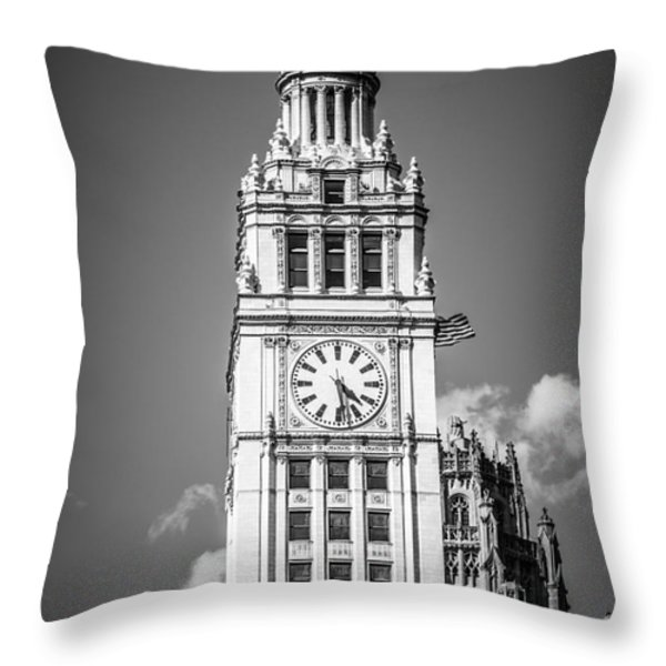 Chicago Wrigley Building Clock Black and White Picture Throw Pillow by Paul Velgos