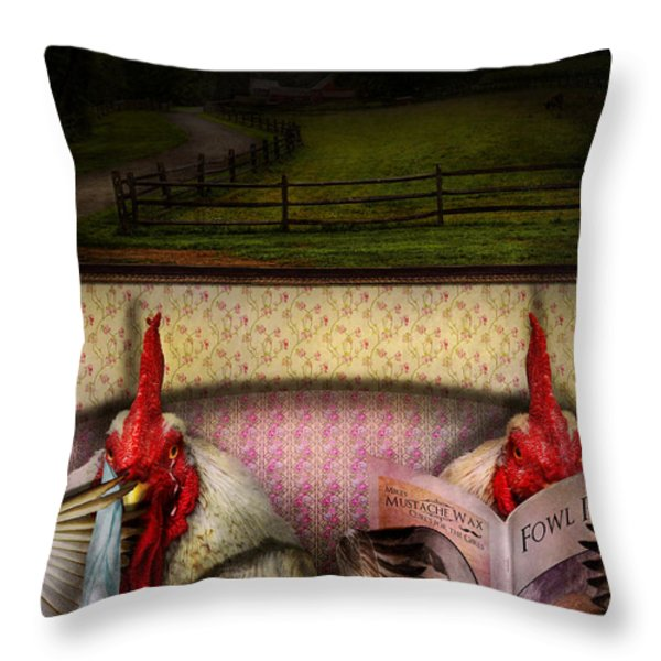 Chicken - Chick flick Throw Pillow by Mike Savad