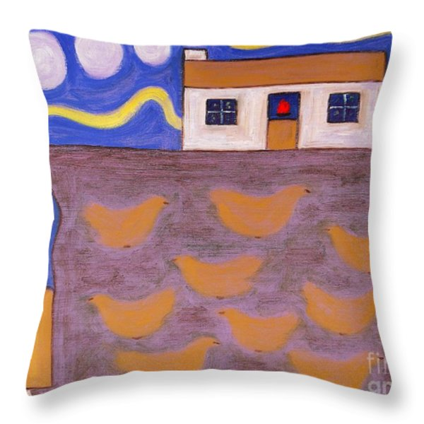 Chickens Throw Pillow by Patrick J Murphy