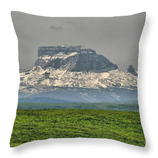 Chief Mountain Montana Throw Pillow by Vickie Emms