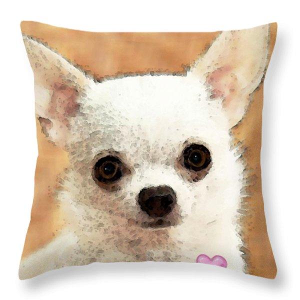 Chihuahua Dog Art - Big Heart Throw Pillow by Sharon Cummings