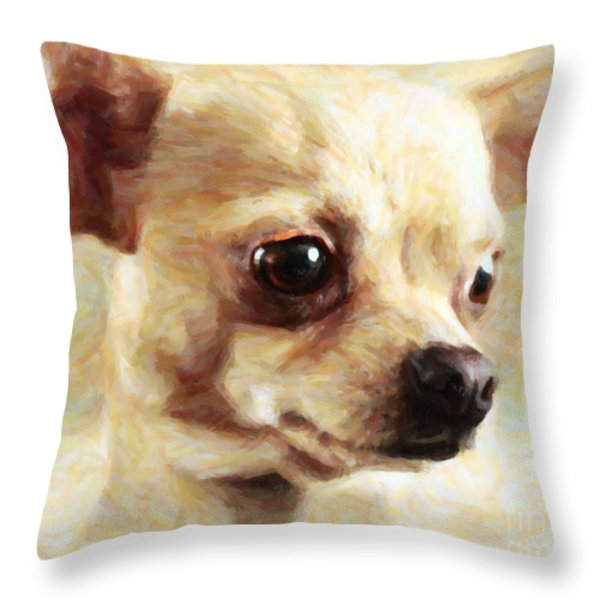 Chihuahua Dog - Painterly Throw Pillow by Wingsdomain Art and Photography