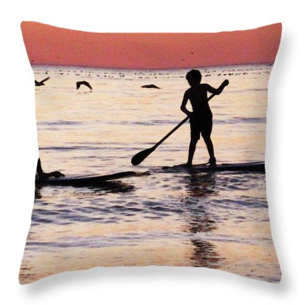 Child Art - Magical Sunset Throw Pillow by Sharon Cummings
