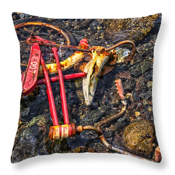 Childhood Bike Throw Pillow by Garry Gay
