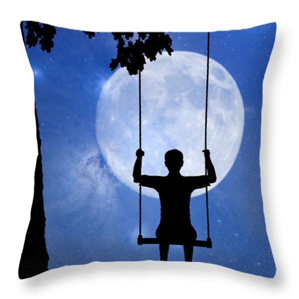 Childhood dreams 2 The Swing Throw Pillow by John Edwards