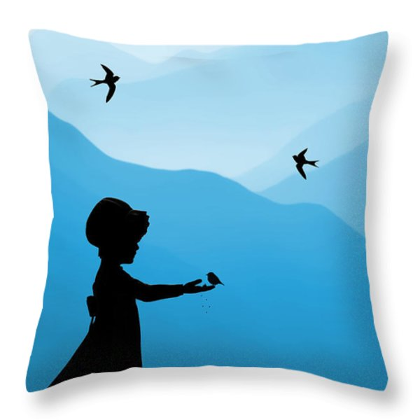 Childhood Dreams 5 Feeding Time Throw Pillow by John Edwards