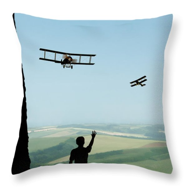 Childhood Dreams The Flypast Throw Pillow by John Edwards
