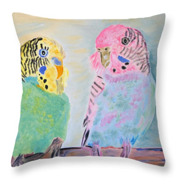 Childhood Parakeets Throw Pillow by Meryl Goudey
