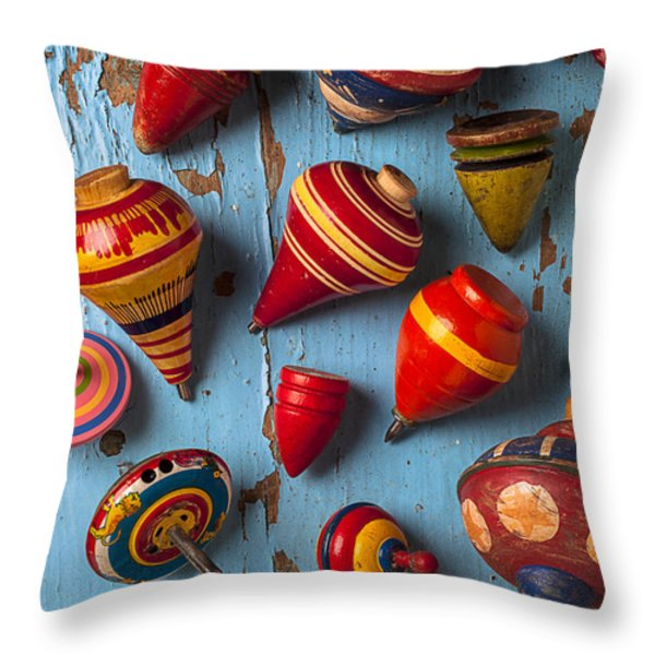 Childhood tops Throw Pillow by Garry Gay