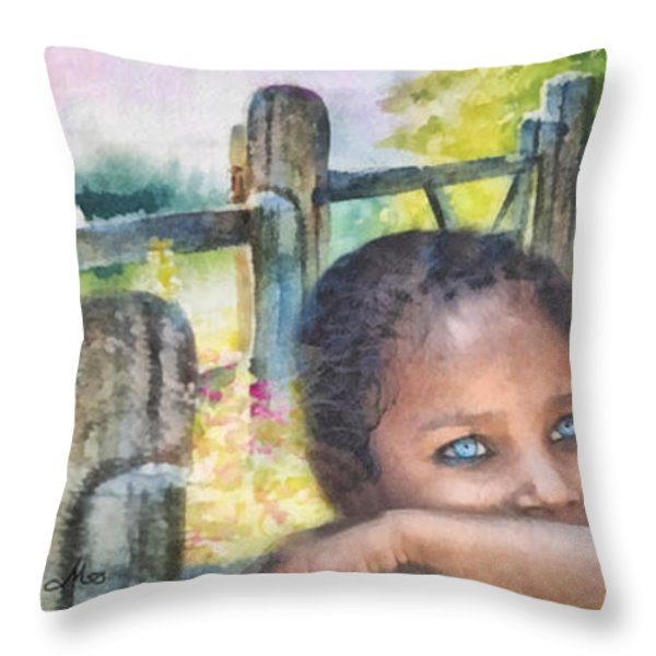 Childhood Triptic Throw Pillow by Mo T