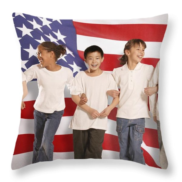 Children In Front Of American Flag Throw Pillow by Don Hammond
