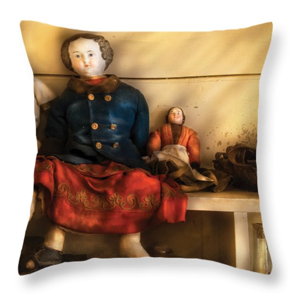 Children - Toys - Assorted Dolls Throw Pillow by Mike Savad