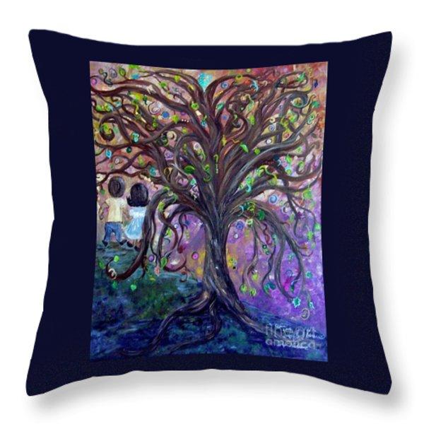 Children Under The Fantasy Tree With Jackie Joyner-kersee Throw Pillow by Eloise Schneider