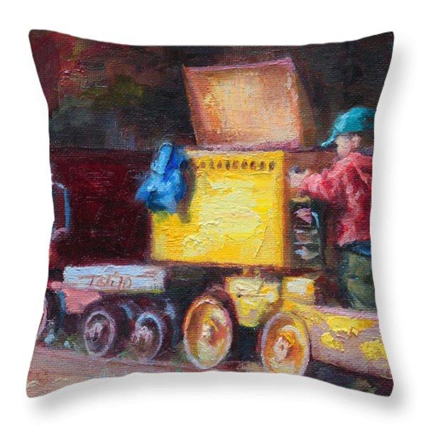 Child's Play - Gold Mine Train Throw Pillow by Talya Johnson